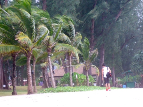 Alan walking on the beach at Phuket, Thailand