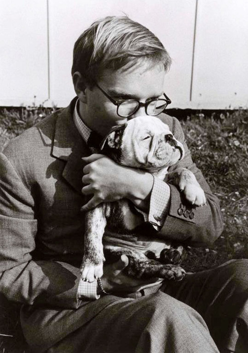 Truman Capote with puppy