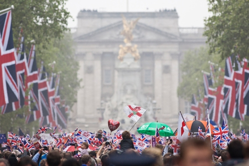 Crowds on the Mall Royal Wedding 2011