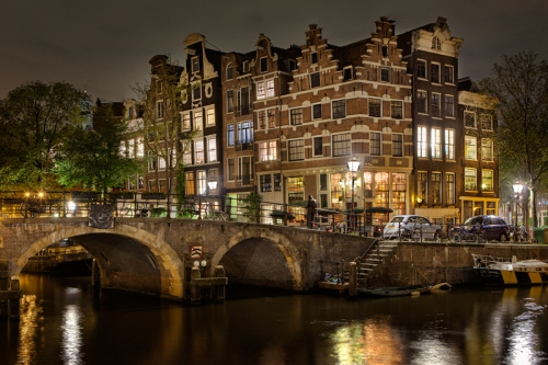 Houses on the Canal, Amsterdam, Netherlands / Holland